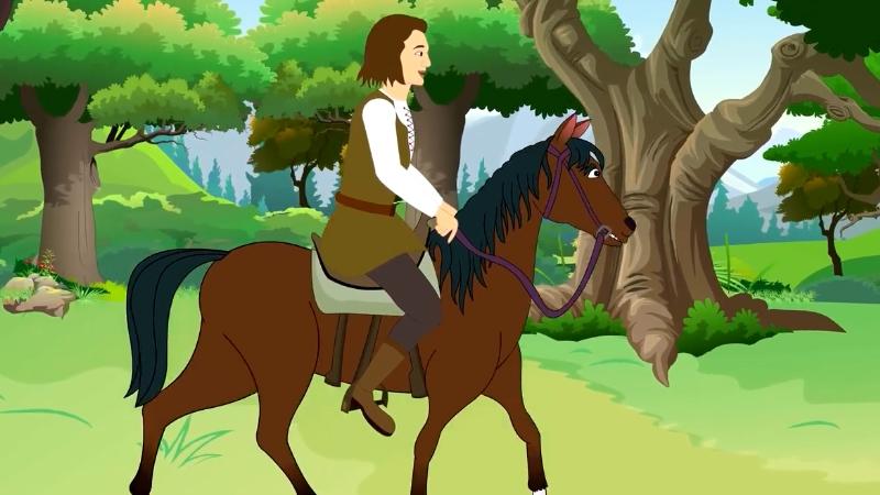 Chàng trai được nhà vua ban cho chú ngựa và ít tiền đi khám phá miền đất mới.