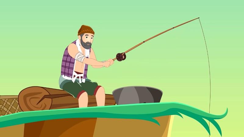 Ông lão đang đi câu cá hàng ngày.