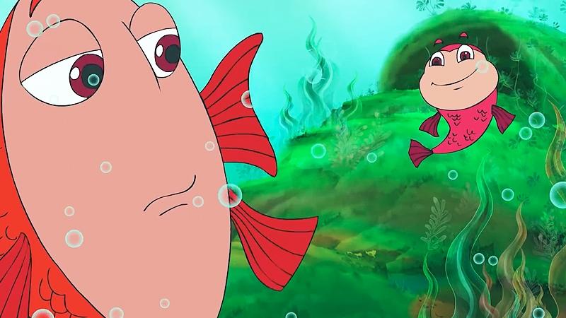 Bạn cá rồng đỏ xin phép mẹ đi chơi.