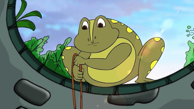 Mẹ ếch đưa chú lên bờ.
