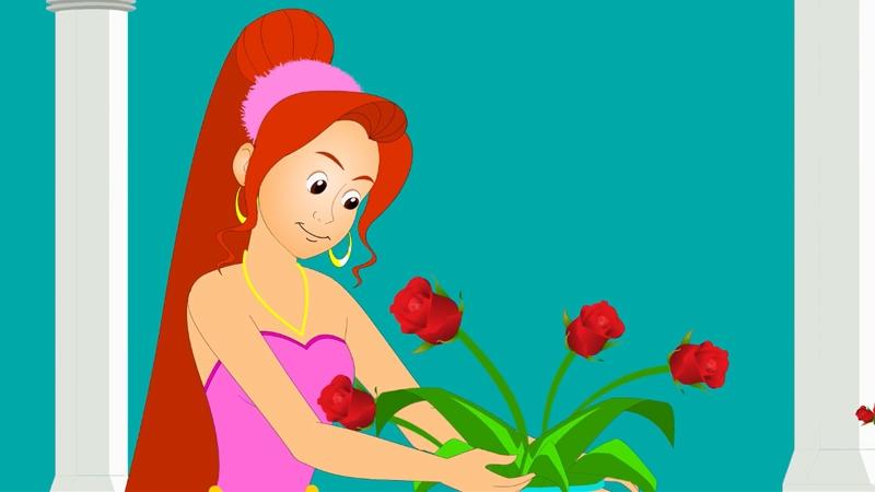 Công chúa đang ngắm những bông hồng xinh đẹp.