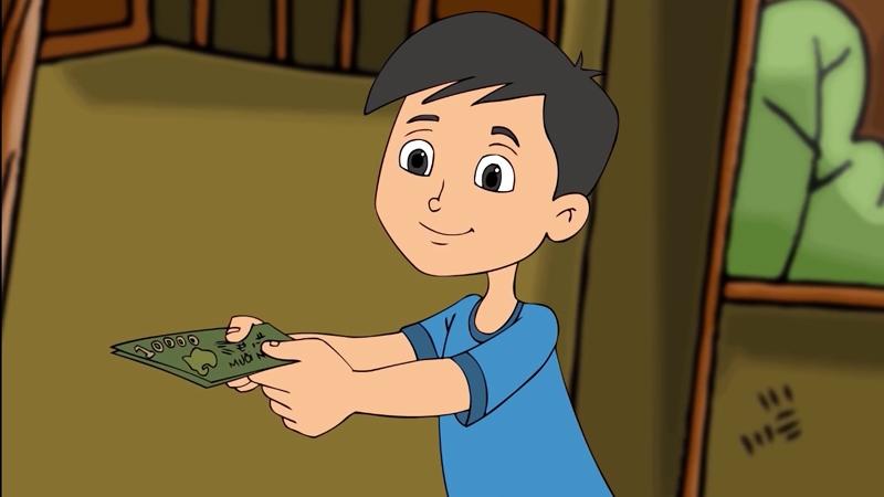 Cậu bé vui vẻ đưa bố tiền vì đã bán được nước mía.