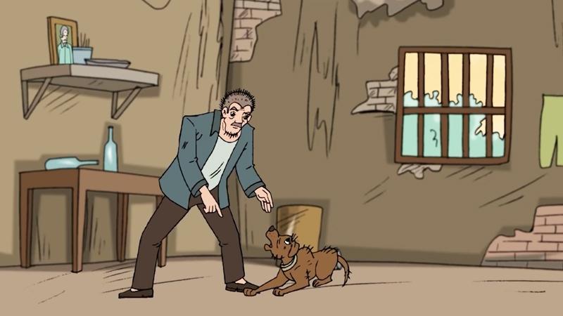 Ông chủ đánh con chó tội nghiệp.