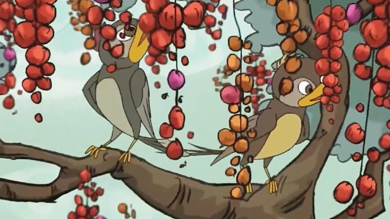 Hai vợ chồng chim trên đường đi đã nhìn thấy một cây có quả sai chín mọng.
