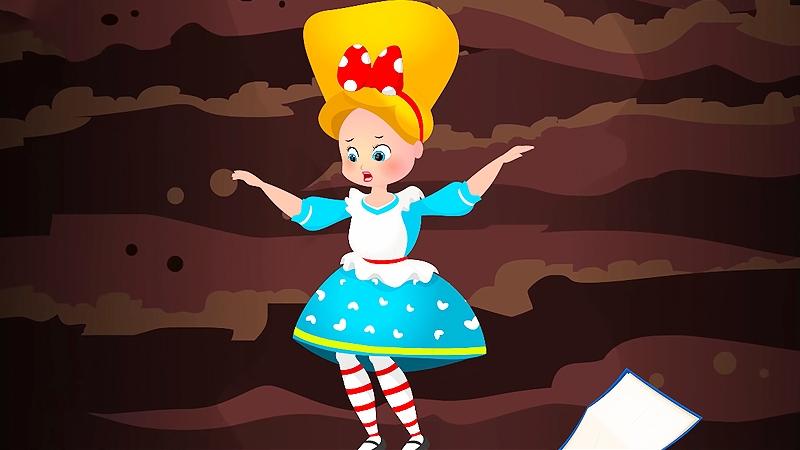 Cô bé vào hang thỏ và rơi xuống hang.