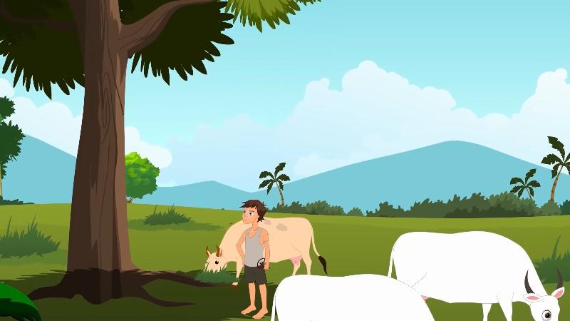 Krishna trông đàn bò đang gặm cỏ ở bìa rừng.