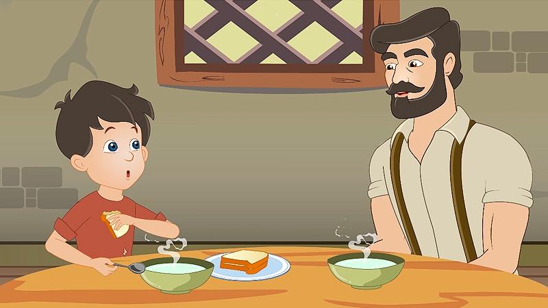 Sam và ba đang ăn bữa.
