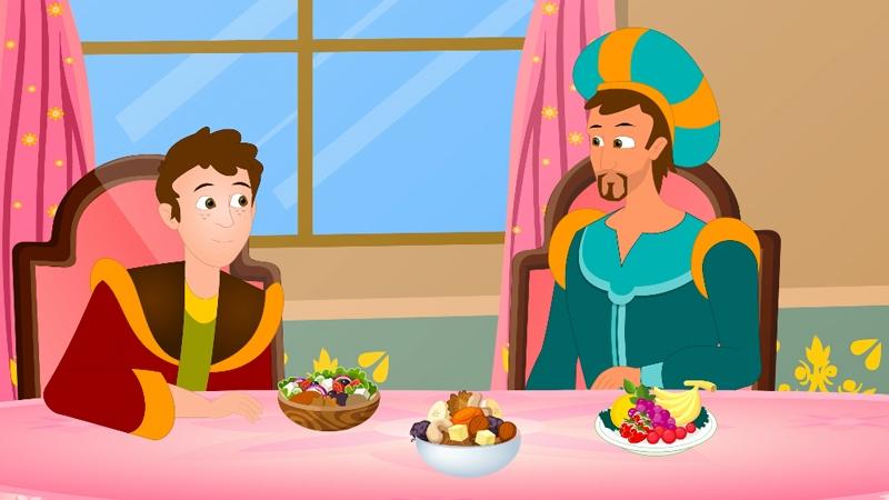 Hai cha con đang ăn bữa sáng cùng nhau.