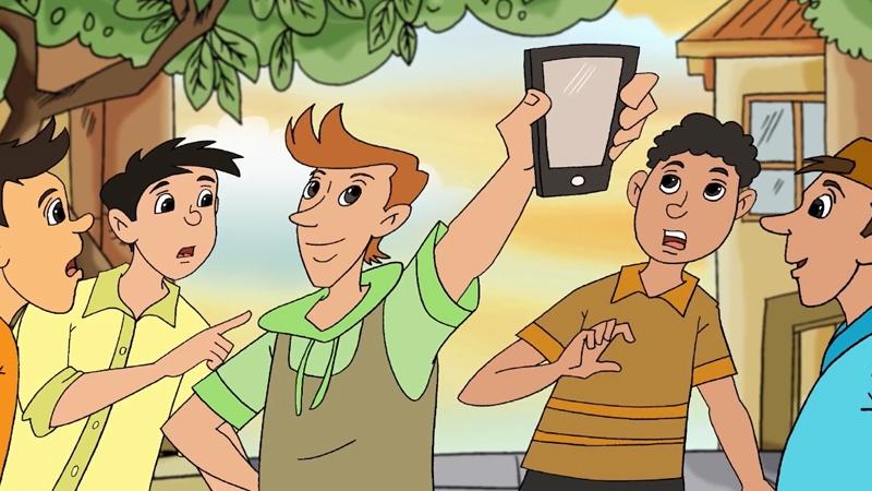 Bạn bè đang khoe có chiếc điện thoại mới.