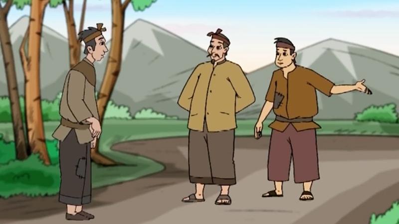 Anh nông dân cùng mọi người chuẩn bị đi mừng thọ phú ông.