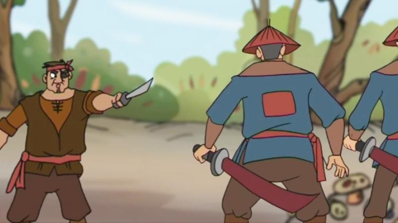 Tên cướp tay lăm lăm con dao dọa hai người lính.