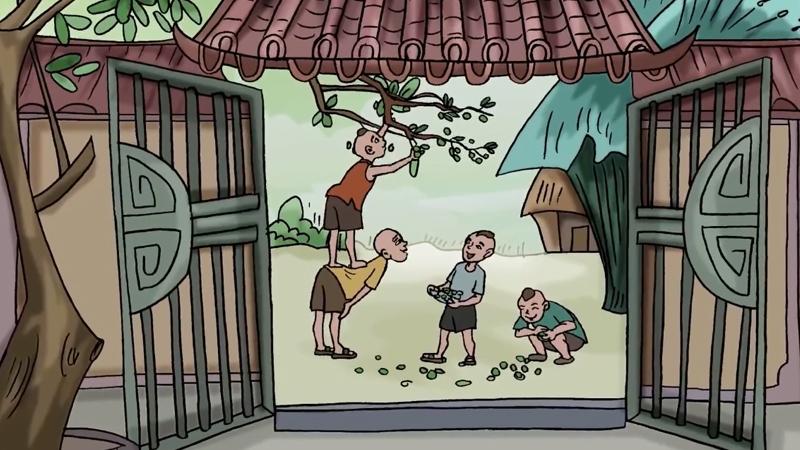Ở ngoài nhóm trẻ con vui đùa cùng nhau.