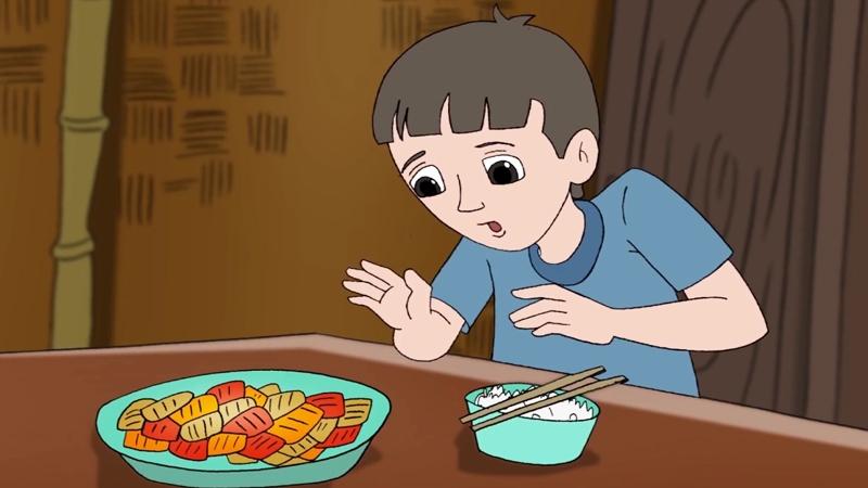 Cậu con trai rất ngạc nhiên khi mẹ không ăn thịt.