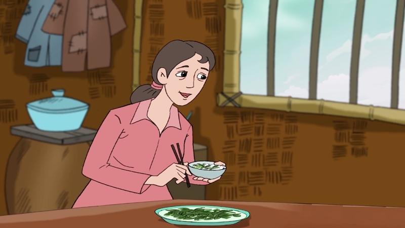 Người mẹ có thói quen thích ăn rau.