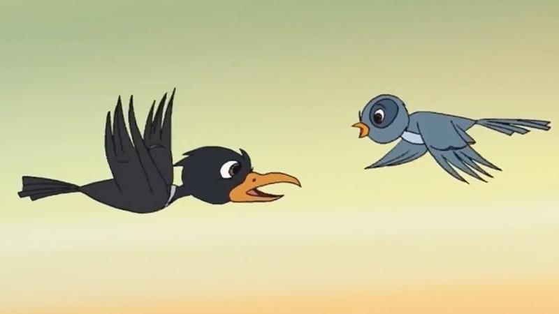 Quạ và chim Khách đi kiếm mồi.