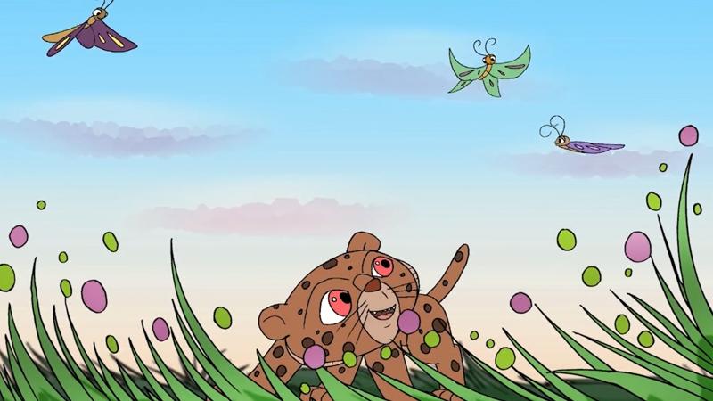 Báo con chơi đùa nói chuyện với đàn bướm.