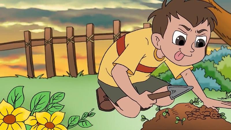 Cậu bé đào đất chỗ ông trông hoa.