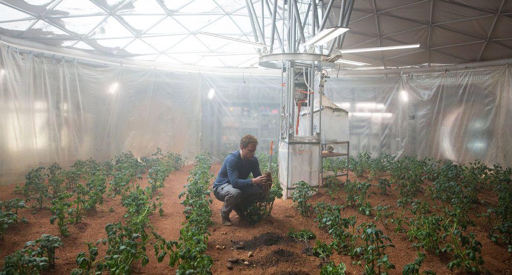 Ở một nơi không có nước và sự sống, Watney sử dụng các kỹ năng sống và kiến thức sinh vật để gieo trồng khoai tây làm nguồn thực phẩm chính trong lúc chờ người tới cứu.