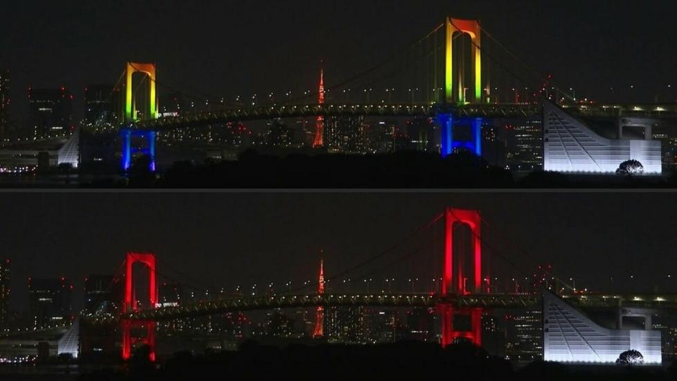 Cây Cầu Cầu Vồng Tokyo Chuyển Đỏ, Cảnh Báo Covid-19 Tăng Trở Lại
